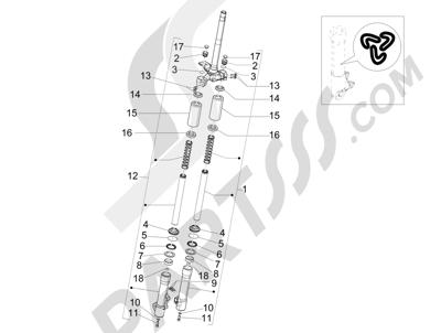 Piaggio Liberty 100 4T (Vietnam) 2011-2014 Componentes de la horquilla (Kayaba)