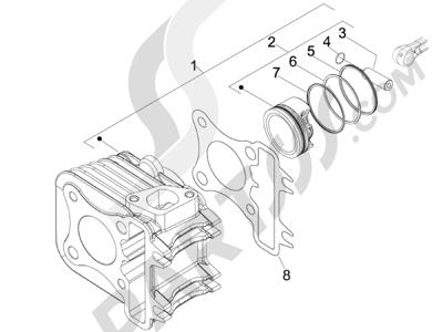 Piaggio Liberty 100 4T (Vietnam) 2011-2014 Grupo cilindro-pistón-eje
