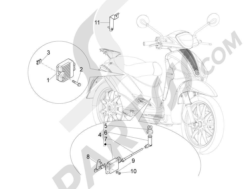 Piaggio Liberty 100 4T (Vietnam) 2011-2014 Reguladores de tensión - Centralitas electrónicas - Bobina A.T.