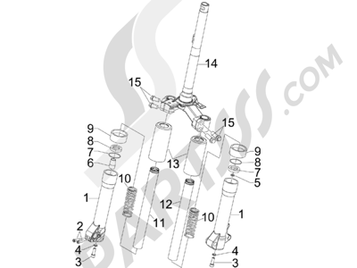 Piaggio Liberty 125 4T 2006-2007 Componentes de la horquilla (MVP)