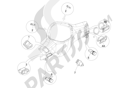 Piaggio Liberty 125 4T 3V ie E3 2013 - 2014 Conmutadores - Conmutadores - Pulsadores - Interruptores