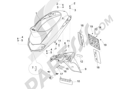 Piaggio Liberty 125 4T 3V ie E3 2013 - 2014 Cubierta trasera - Salpicador