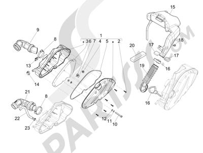 Piaggio Liberty 125 4T 3V ie E3 2013 - 2014 Filtro de aire