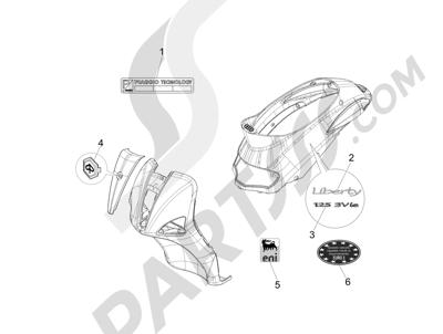 Piaggio Liberty 125 4T 3V ie E3 2013 - 2014 Letreros - Escudos