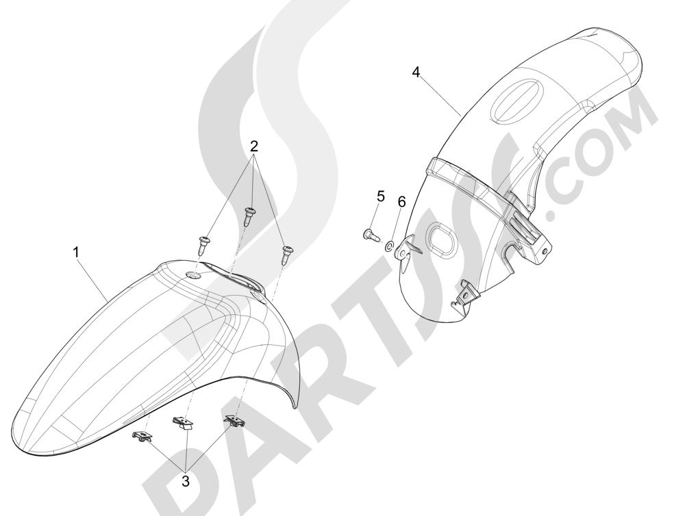Alojamiento rueda - Guardabarros Piaggio Liberty 125 4T 3V ie E3 2013 - 2014