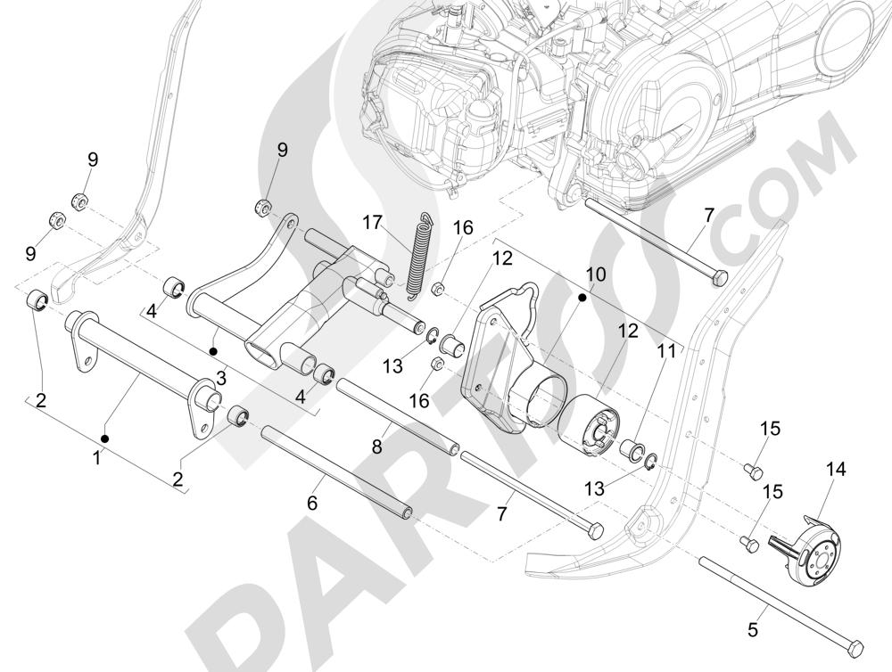 Brazo oscilante Piaggio Liberty 125 4T 3V ie E3 2013 - 2014
