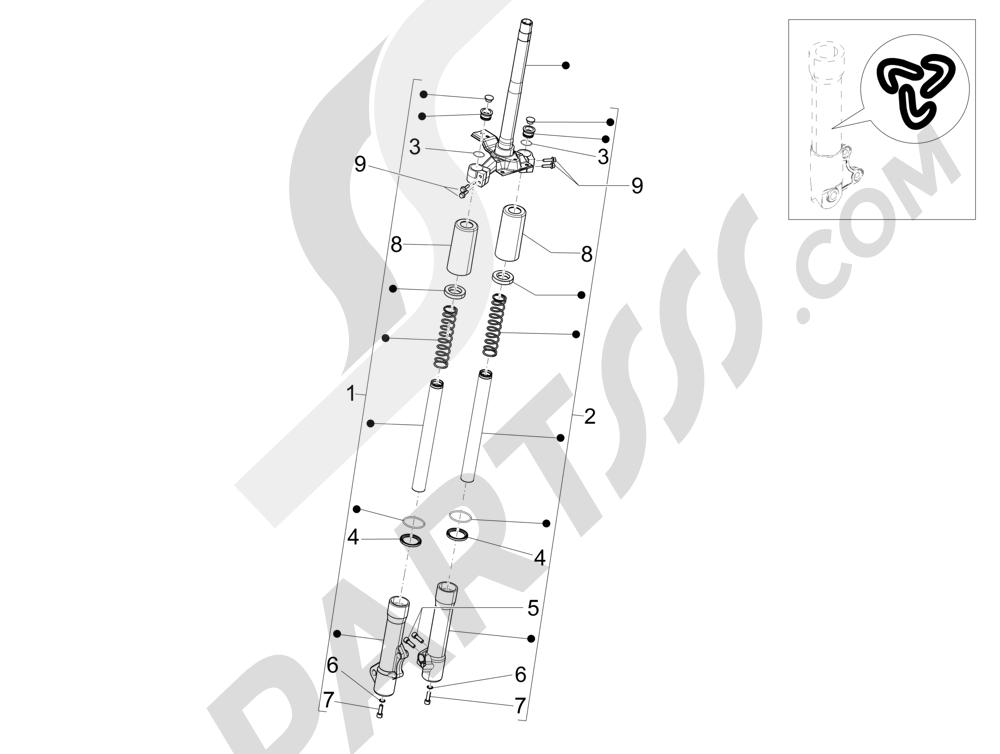 Componentes de la horquilla (Wuxi Top) Piaggio Liberty 125 4T 3V ie E3 2013 - 2014