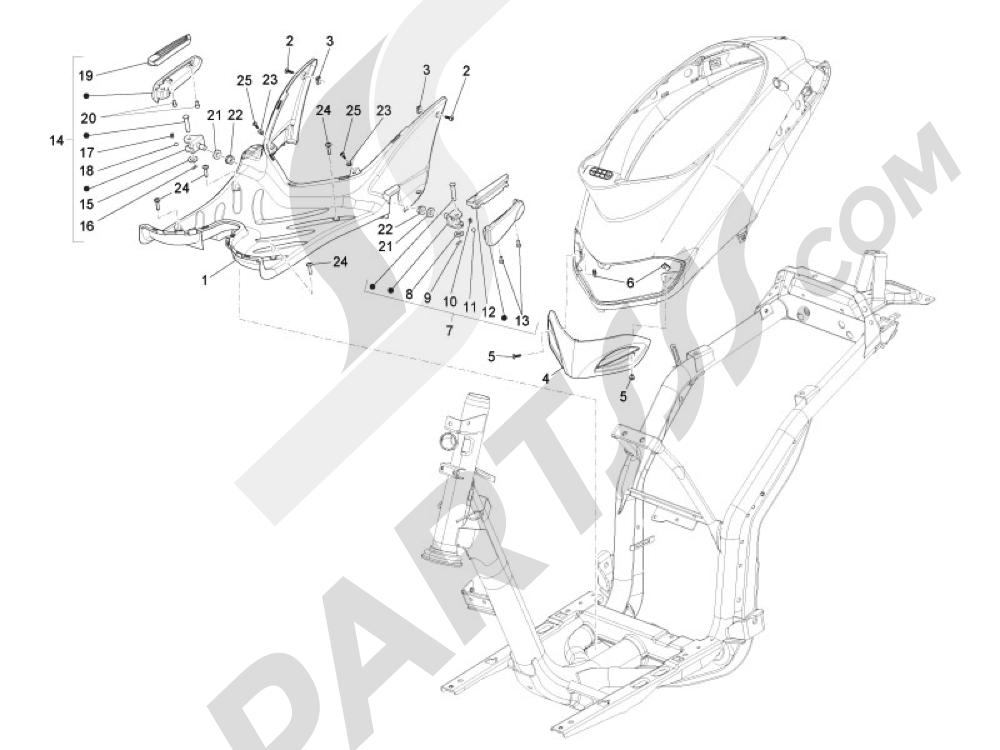 Cubierta central - Estribos Piaggio Liberty 125 4T 3V ie E3 2013 - 2014