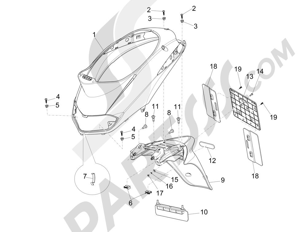 Cubierta trasera - Salpicador Piaggio Liberty 125 4T 3V ie E3 2013 - 2014