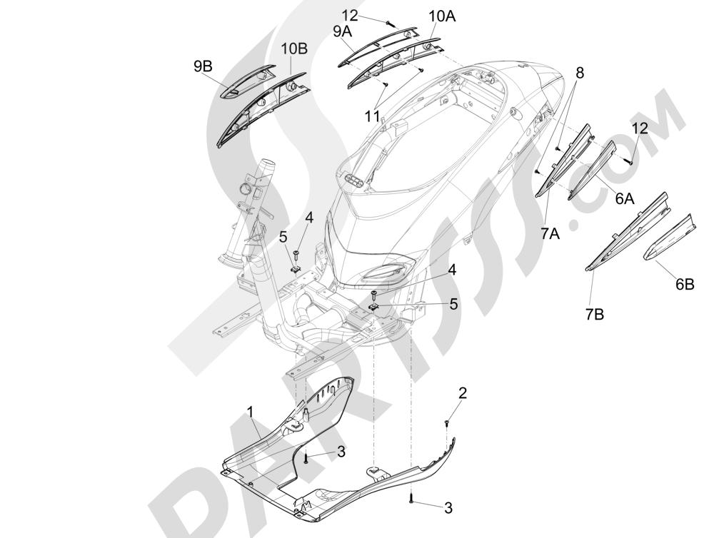 Cubiertas laterales - Spoiler Piaggio Liberty 125 4T 3V ie E3 2013 - 2014