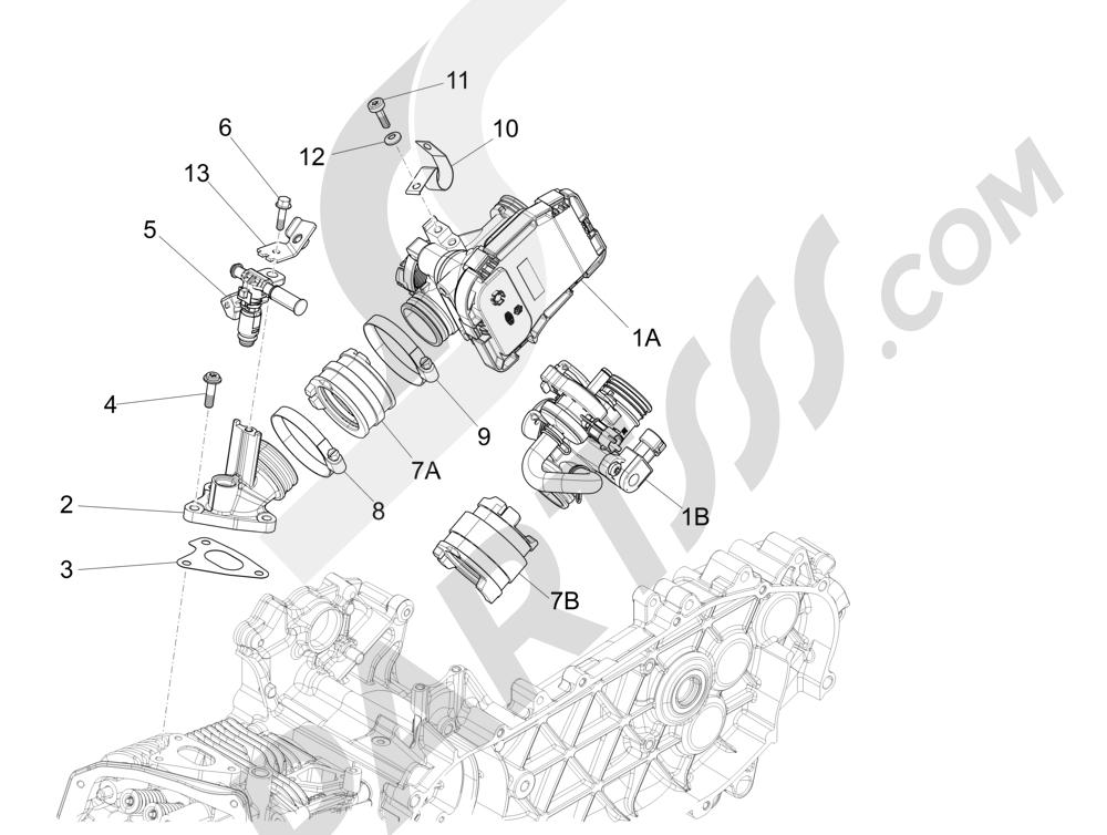 Cuerpo con mariposa - Inyector - Racord admisión Piaggio Liberty 125 4T 3V ie E3 2013 - 2014