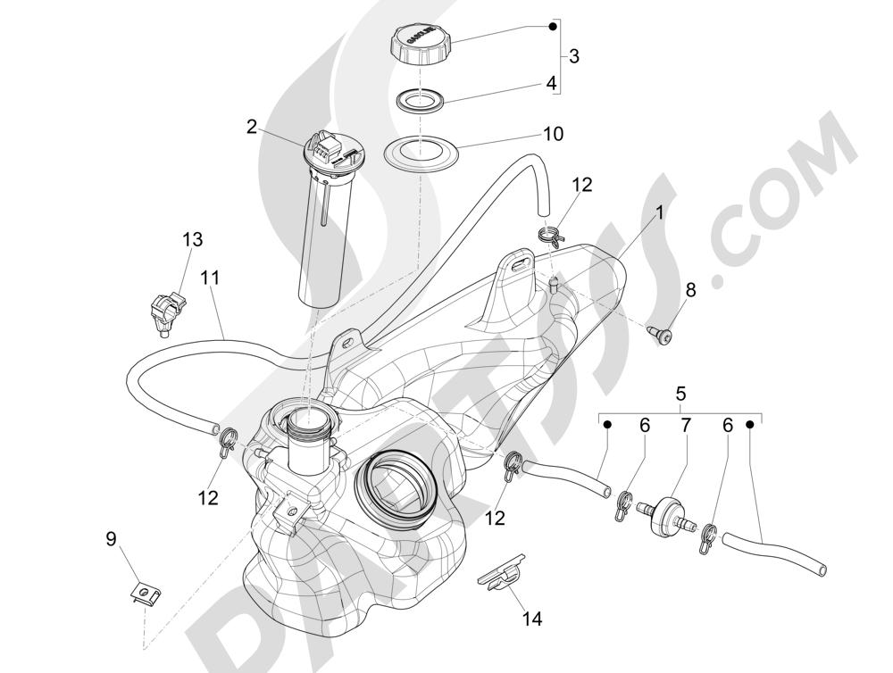 Depósito carburante Piaggio Liberty 125 4T 3V ie E3 2013 - 2014