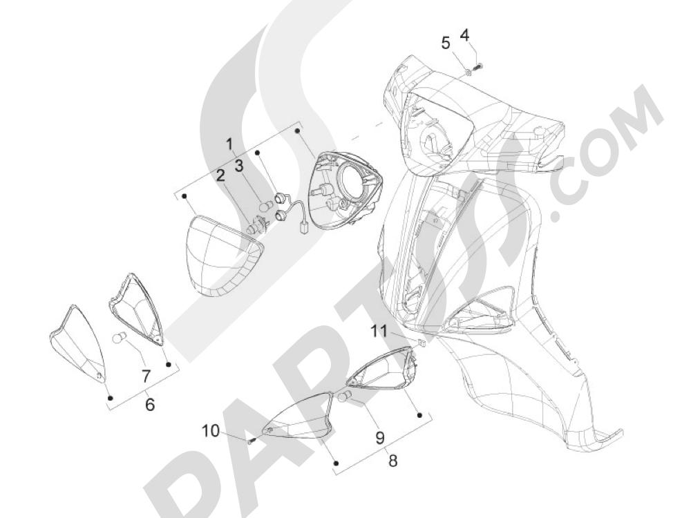 Faros delanteros - Indicadores de dirección Piaggio Liberty 125 4T 3V ie E3 2013 - 2014