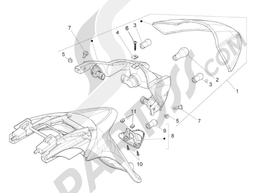 Faros traseros - Indicadores de dirección Piaggio Liberty 125 4T 3V ie E3 2013 - 2014