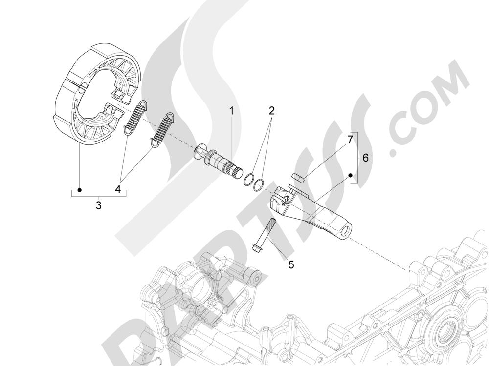 Freno trasero - Zapatas Piaggio Liberty 125 4T 3V ie E3 2013 - 2014