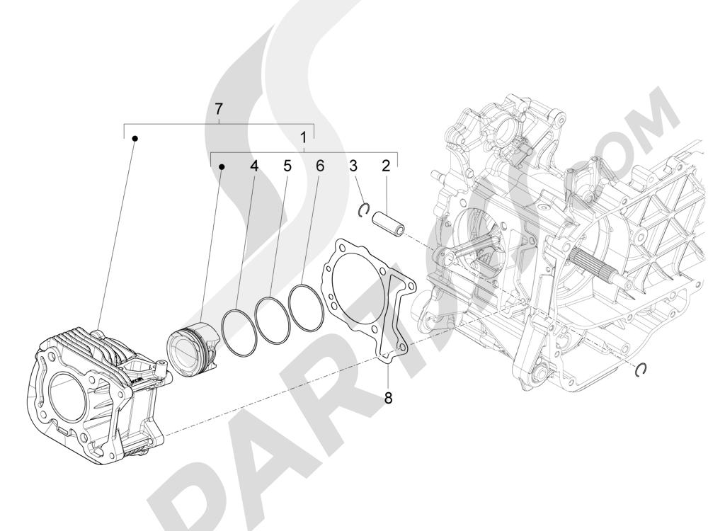 Grupo cilindro-pistón-eje Piaggio Liberty 125 4T 3V ie E3 2013 - 2014