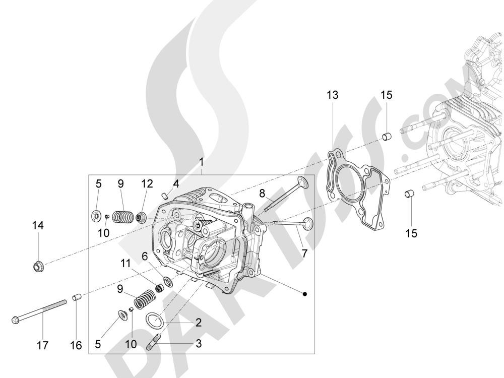 Grupo culata - Valvula Piaggio Liberty 125 4T 3V ie E3 2013 - 2014