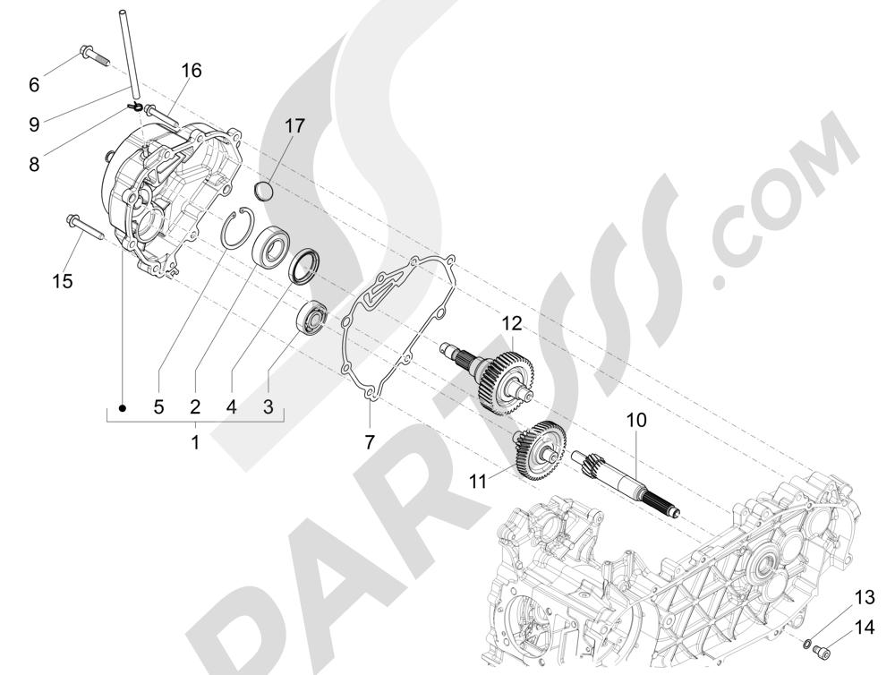 Grupo reductor Piaggio Liberty 125 4T 3V ie E3 2013 - 2014