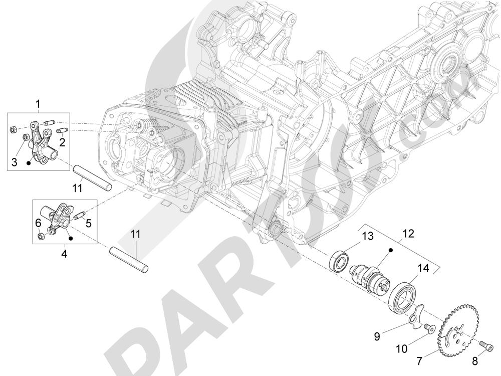 Grupo soporte balancines Piaggio Liberty 125 4T 3V ie E3 2013 - 2014
