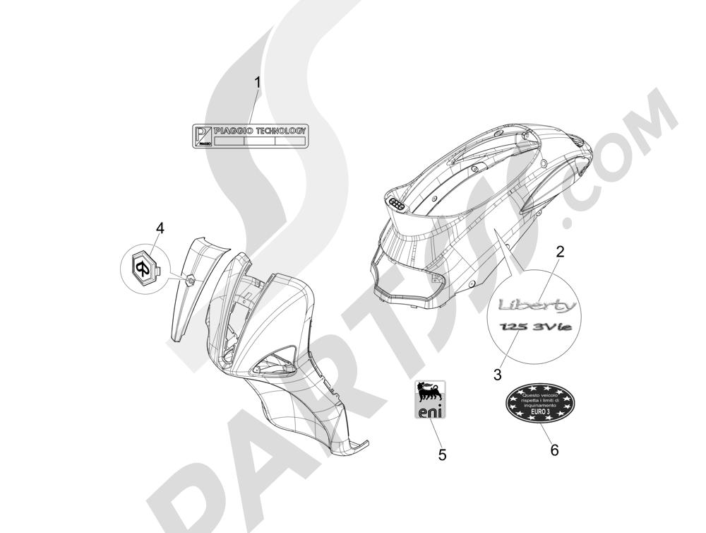 Letreros - Escudos Piaggio Liberty 125 4T 3V ie E3 2013 - 2014