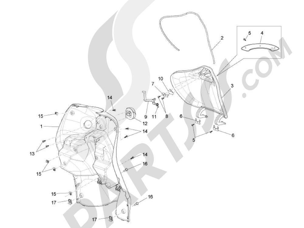Maletero delantero - Contraescudo Piaggio Liberty 125 4T 3V ie E3 2013 - 2014