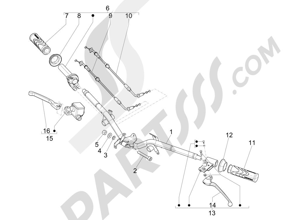 Manillar - Bomba freno Piaggio Liberty 125 4T 3V ie E3 2013 - 2014