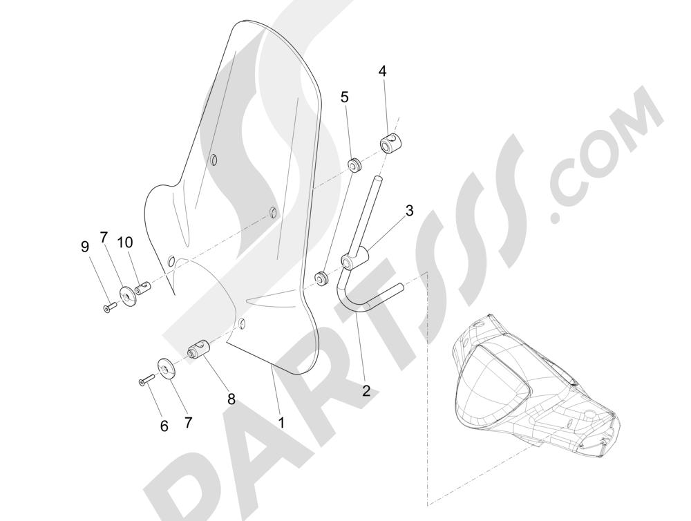 Parabrisas - Cristales Piaggio Liberty 125 4T 3V ie E3 2013 - 2014