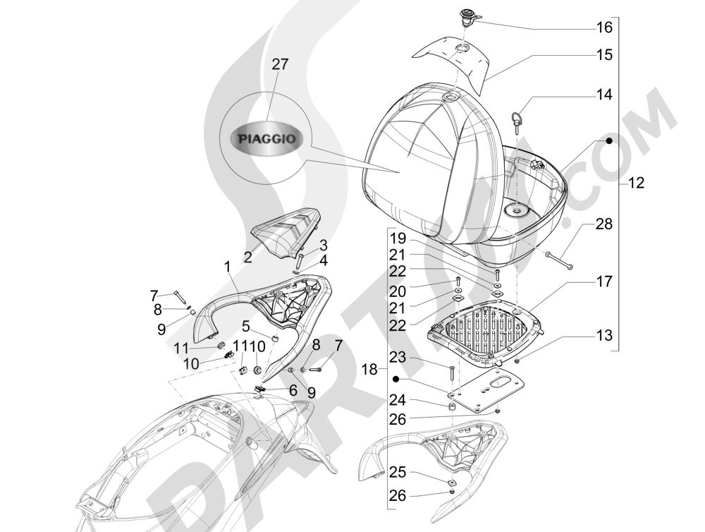Portaequipajes trasero Piaggio Liberty 125 4T 3V ie E3 2013 - 2014