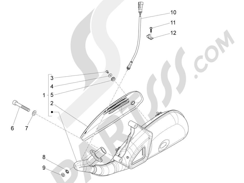 Silenciador Piaggio Liberty 125 4T 3V ie E3 2013 - 2014