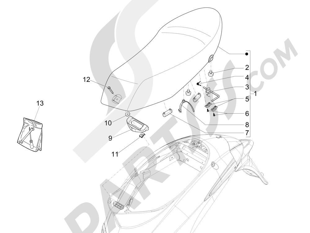 Sillín asientos Piaggio Liberty 125 4T 3V ie E3 2013 - 2014