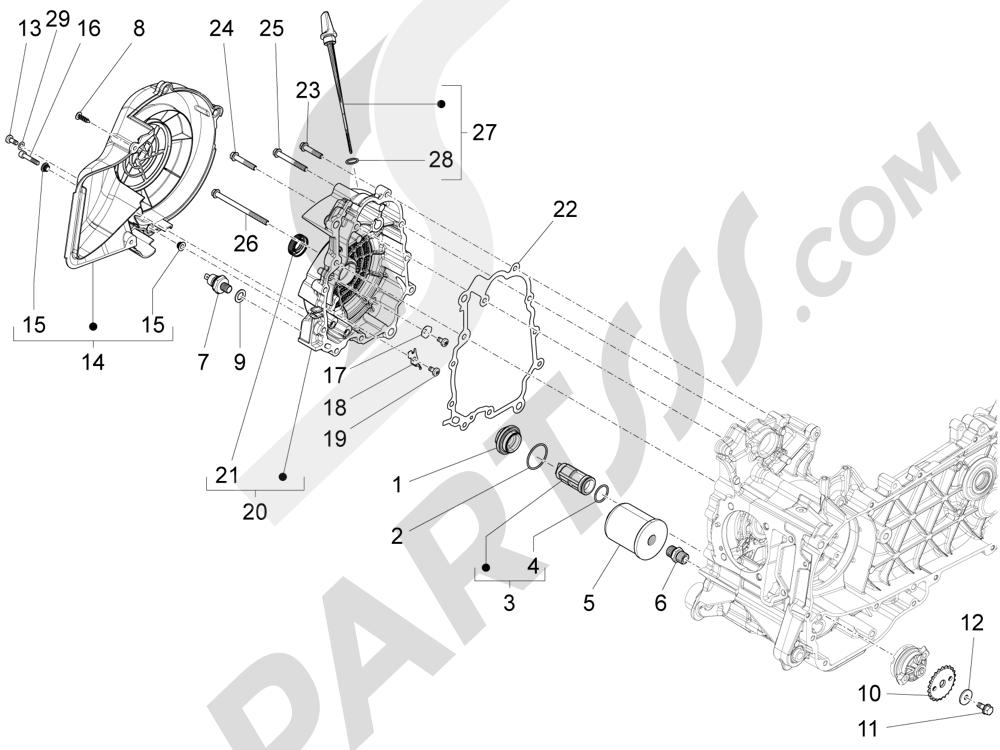 Tapa volante magnetico - Filtro de aceite Piaggio Liberty 125 4T 3V ie E3 2013 - 2014