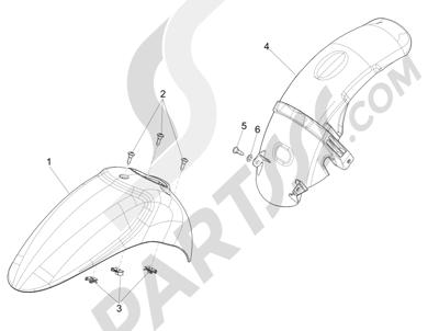 Piaggio Liberty 125 4T 3V ie E3 (Vietnam ) 2013-2014 Alojamiento rueda - Guardabarros