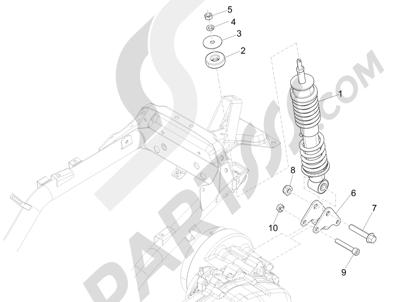 Piaggio Liberty 125 4T 3V ie E3 (Vietnam ) 2013-2014 Suspensión trasera - Amortiguador es