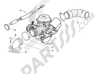 Piaggio Liberty 125 4T E3 (UK) 2006-2008 Carburador completo - Racord admisión