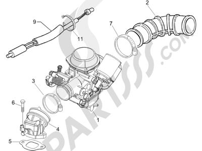 Piaggio Liberty 125 4T Sport E3 2007-2008 Carburador completo - Racord admisión