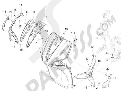 Piaggio Liberty 125 iGet 4T 3V ie ABS (APAC) 2015 Escudo delantero
