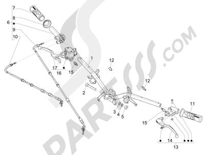 Piaggio Liberty 125 iGet 4T 3V ie ABS (APAC) 2015 Manillar - Bomba freno