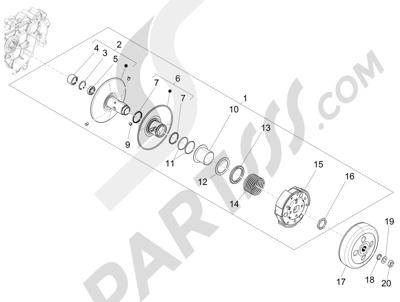 Piaggio Liberty 125 iGet 4T 3V ie ABS (APAC) 2015 Polea conducida