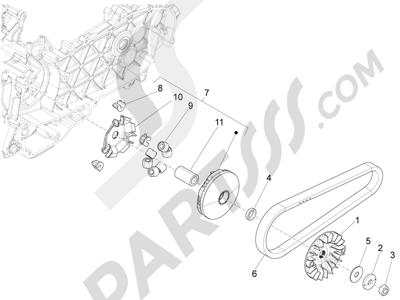 Piaggio Liberty 125 iGet 4T 3V ie ABS (APAC) 2015 Polea conductora