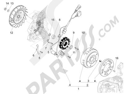 Piaggio Liberty 125 iGet 4T 3V ie ABS (APAC) 2015 Volante magnetico