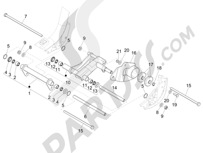 Piaggio Liberty 125 iGet 4T 3V ie ABS (EMEA) 2015 Brazo oscilante