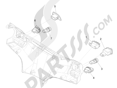 Piaggio Liberty 125 iGet 4T 3V ie ABS (EMEA) 2015 Conmutadores - Conmutadores - Pulsadores - Interruptores