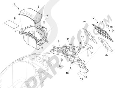 Piaggio Liberty 125 iGet 4T 3V ie ABS (EMEA) 2015 Cubierta trasera - Salpicador