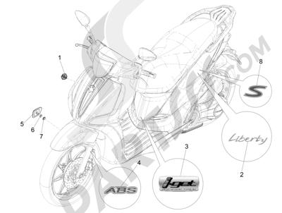 Piaggio Liberty 125 iGet 4T 3V ie ABS (EMEA) 2015 Letreros - Escudos