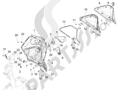 Piaggio Liberty 125 iGet 4T 3V ie ABS (EMEA) 2015 Maletero delantero - Contraescudo