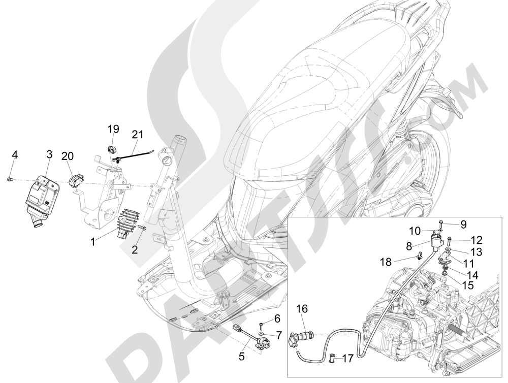 Piaggio Liberty 125 iGet 4T 3V ie ABS (EMEA) 2015 Reguladores de tensión - Centralitas electrónicas - Bobina A.T.