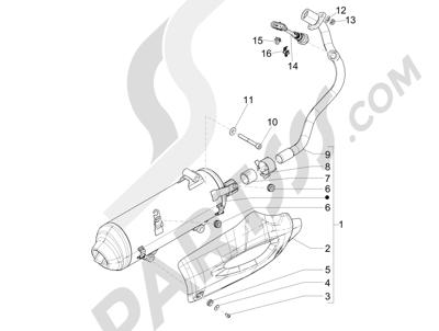 Piaggio Liberty 125 iGet 4T 3V ie ABS (EMEA) 2015 Silenciador