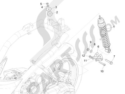Piaggio Liberty 125 iGet 4T 3V ie ABS (EMEA) 2015 Suspensión trasera - Amortiguador es