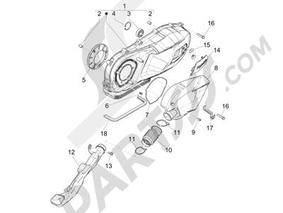 Piaggio Liberty 125 iGet 4T 3V ie ABS (EMEA) 2015 Tapa cárter - Refrigeracion cárter