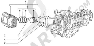 Piaggio Liberty 125 Leader RST 1998-2005 Grupo cilindro - piston - eje de piston